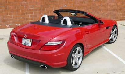 A three-quarter rear view of a 2012 Mercedes-Benz SLK350