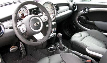 An interior view of the front of a 2008 Mini Cooper S Clubman