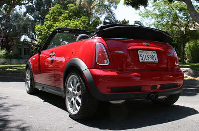 A three-quarter rear view of a 2006 Mini Cooper S Convertible John Cooper Works with its top down