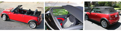 The folding roof of the 2006 Mini Cooper S Convertible John Cooper Works