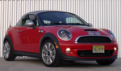 A three-quarter front view of a Mini Cooper S Coupe