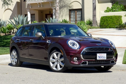 A three-quarter front view of a 2016 Mini Cooper S Clubman 6-door hatchback
