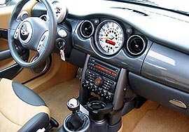 A front interior view of a 2004 Mini Cooper S