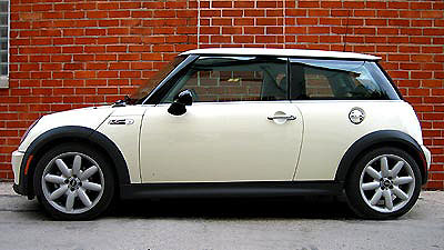 A side view of a white 2004 Mini Cooper S