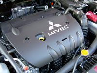 A view of the engine in the 2008 Mitsubishi Lancer ES