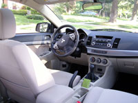 An interior view of a 2008 Mitsubishi Lancer ES