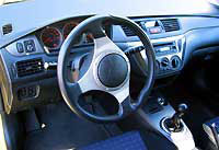 An interior view of a Mitsubishi Lancer Evolution VIII
