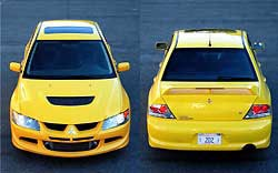 Front and rear views of a yellow Mitsubishi Lancer Evolution VIII