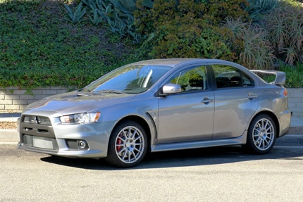 A three-quarter front view of the 2016 Mitsubishi Lancer Evolution GSR