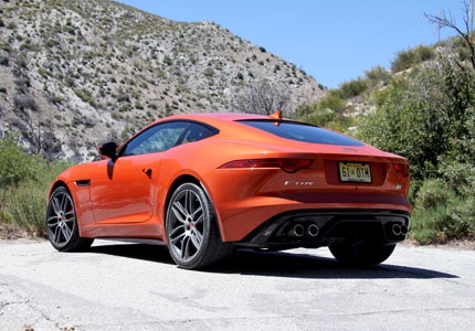 A three-quarter rear view of the Jaguar F-TYPE R