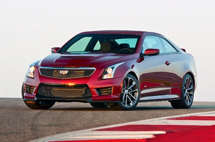 A three-quarter front view of the Cadillac ATS-V Coupe