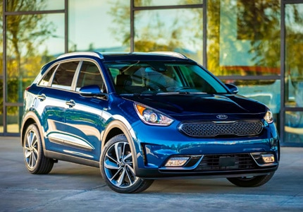 A three-quarter front view of the all-new Kia Niro Hybrid Utility Vehicle