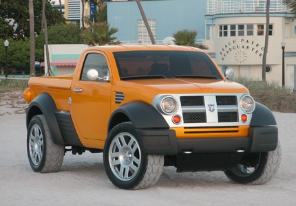 A Dodge M80 compact pickup truck, the newest motor trend