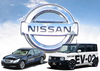 Nissan Motor Company's two new alternative-fuel vehicle prototypes, a hybrid-electric car and an all-electric car