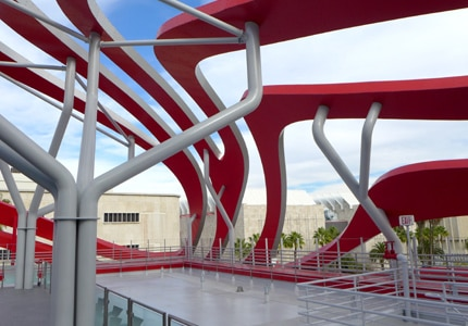 A view of the new Petersen Automotive Museum from inside