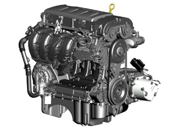 A view of the 1.4-liter I-4 Range Extender engine for the 2011 Chevrolet Volt