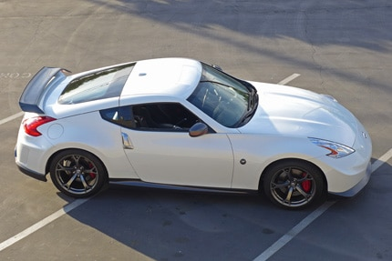A three-quarter top view of a 2014 Nissan 370Z Nismo
