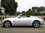 A side view of a gray 2008 Nissan 350Z Roadster Touring