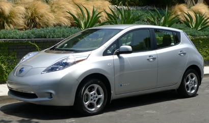 A three-quarter front view of a 2011 Nissan Leaf, one of our Top 10 Electric Cars