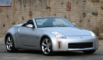 A three-quarter front view of a gray 2008 Nissan 350Z Roadster Touring
