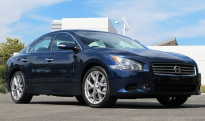 A three-quarter front view of a 2010 Nissan Maxima 3.5 SV