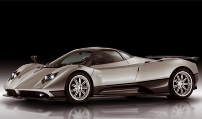A three-quarter front view of a 2011 Pagani Zonda F