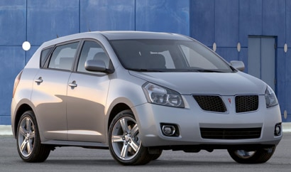 A three-quarter front view of a gray 2009 Pontiac Vibe AWD in Los Angeles