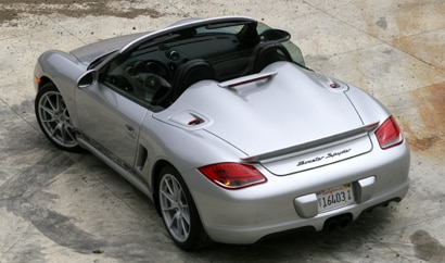 A three-quarter rear view of a 2011 Porsche Boxster Spyder