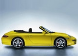 A side view of a yellow 2008 Porsche 911 Carrera S Cabriolet