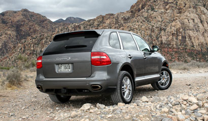 A three-quarter rear view of a 2008 Porsche Cayenne S