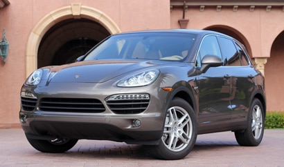 A three-quarter front view of a 2012 Porsche Cayenne S Hybrid Tiptronic
