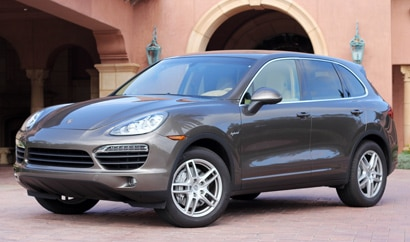 A three-quarter front view of a 2011 Porsche Cayenne S Hybrid