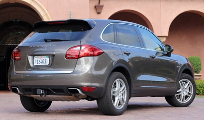 A three-quarter rear view of the Porsche Cayenne Hybrid