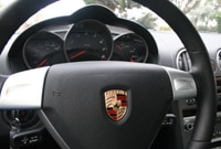 Porsche Cayman three-spoke steering wheel