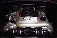 The 4.5-liter turbocharged V8 engine of the 2004 Porsche Cayenne Turbo