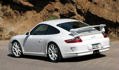 A three-quarter rear view of a white 2008 Porsche 911 GT3