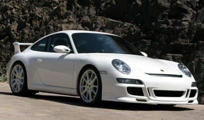 A three-quarter front view of a white 2008 Porsche 911 GT3