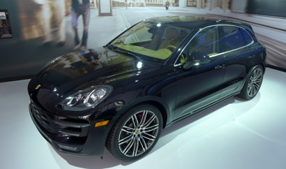 A three-quarter top view of a 2015 Porsche Macan