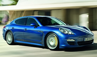 A three-quarter front view of a blue 2012 Porsche Panamera S Hybrid