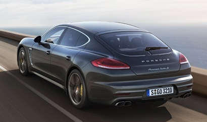 A three-quarter rear view of the Porsche Panamera Turbo S
