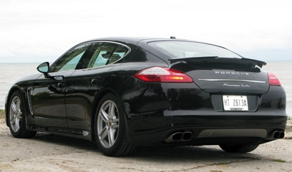 A three-quarter rear view of a 2010 Porsche Panamera Turbo