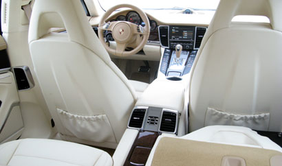 An interior view of the 2010 Porsche Panamera