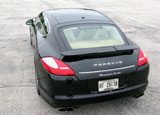 A rear view of a 2010 Porsche Panamera Turbo