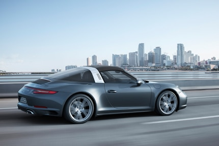 A three-quarter rear view of the all-new Porsche 911 Targa 4