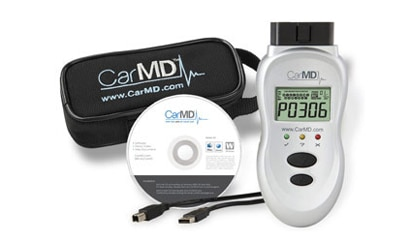 The complete CarMD kit, with handheld device, downloadable software, USB cable and carrying case