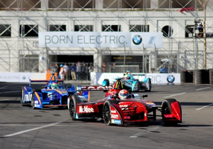 A glimpse of the electric racecars that were competing in the 2016 Faraday Future Formula E Long Beach ePrix