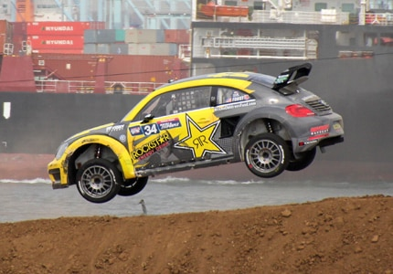 Tanner Foust, racing a souped-up Volkswagen Beetle at round 8 of the Red Bull Global Rallycross at the Port of Los Angeles