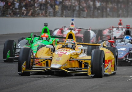 Racecars at the 2013 Indianapolis 500 (Photo credit: Forrest Mellott)