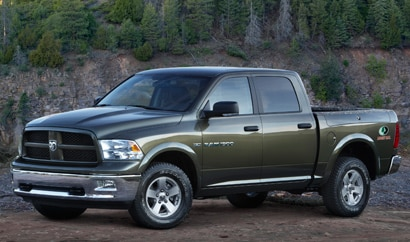 A three-quarter front view of a 2012 Ram 1500 Mossy Oak Edition