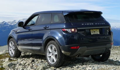 A three-quarter rear view of a 2012 Range Rover Evoque 5-Door